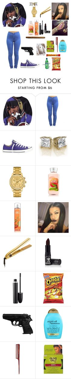 """""""Anotha' Day Trappin"""" by guapxgoddess ❤ liked on Polyvore featuring Converse, Lacoste, Manic Panic, MAC Cosmetics, Organix and Mason Pearson"""