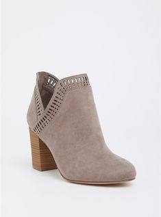 5e79387e8127 Plus Size Taupe V-Cut Stacked Bootie (Wide Width)
