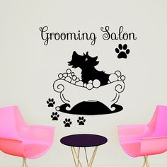 Wall Decals Grooming Salon Decal Vinyl Sticker Dog Tracks Pet Shop Home Decor Interior Design Bedroom Window Hall Art Mural MN636