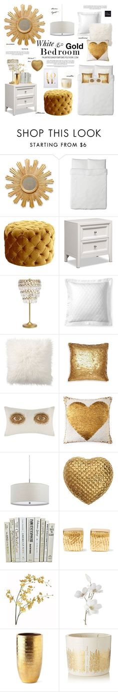 """White and Gold Bedroom / Cyan Design Miss Muffet Ottoman"" by palmtreesandpompoms ❤ liked on Polyvore featuring interior, interiors, interior design, home, home decor, interior decorating, WALL, Cyan Design, PBteen and Ralph Lauren"