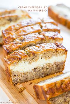 Cream Cheese-Filled Banana Bread - Banana bread that's like having cheesecake baked in! Soft, fluffy, easy and tastes ahhhh-mazing! Needs to whisk until hard with cream cheese filling. Just Desserts, Delicious Desserts, Dessert Recipes, Yummy Food, Tasty, Creative Desserts, Dessert Bread, Pastry Recipes, Brunch Recipes