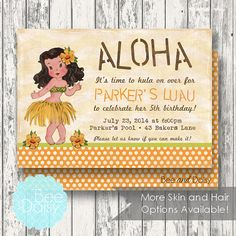 Luau Invitation- - Next day turn around available - Printable Invites $12 and instant download decorations just $10! by BeeAndDaisy SKIN & HAIR Choices!