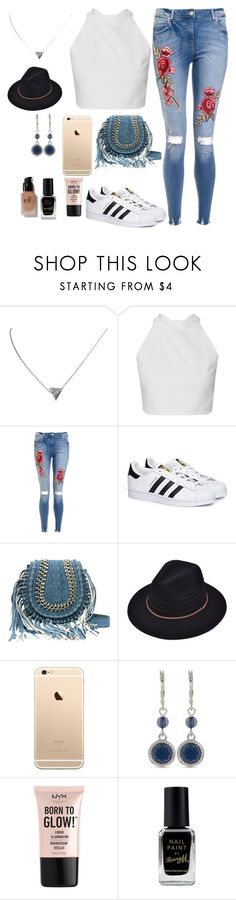 """dark paradise by lana del rey"" by partymileys ❤ liked on Polyvore featuring adidas, Nine West, NYX, Barry M and e.l.f."