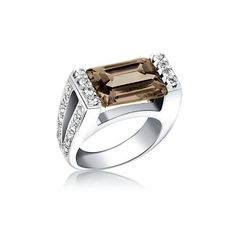 Studio 925 7ct Smokey Topaz Emerald Cut Sterling Silver Ring, 8 – Jewelry from Selena