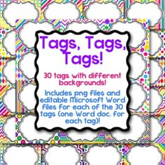 Product Description:30 Editable Tags! Each tag has a different background from my digital paper packs.  These can be used for name tags, classroom labels, or whatever you imagine!  They are sized for Avery 5147 name tag labels but you can re-size them to fit whatever your needs may be.