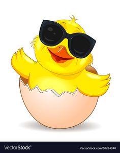 Little joyful chick in sunglasses vector image on VectorStock Chicken Clip Art, Chicken Drawing, Cartoon Chicken, Cute Panda Drawing, Cute Cartoon Drawings, Easter Wallpaper, Baby Chickens, Dark Art Drawings, Cartoon People