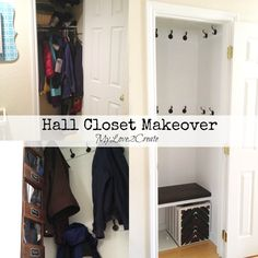Turn that builder grade coat closet into a beautiful functional space!  MyLove2Create, Hall Closet Makeover