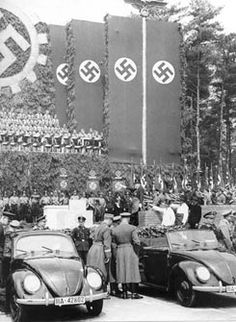 "When the were introduced, Hitler abruptly changed the name of the car to KdF Wagen. KdF stood for ""Kraft durch Freude"" which meant ""Strength through Joy. Van Vw, Vw Vintage, Vintage Travel, Kdf Wagen, Vw Classic, Germany Ww2, Ferdinand Porsche, Volkswagen Group, Vw Cars"