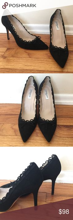 GORGEOUS NEW LKB HEELS! Sz40 Beautiful brand new black suede heels from Lk Bennett. Adorable accents! Soles still have the protective plastic covering. Sz 40 LK Bennett Shoes Heels