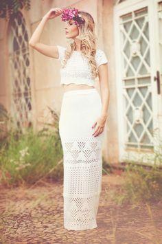 Look – Cropped com saia longa | Blog da Carol Tognon