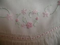 The Old Fashioned Baby Sewing Room - Embroidery on Yoke. Closeup of where yoke is attached to gathered skirt.