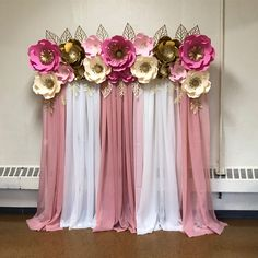 Today's set up 🌸 . Paper Flower Wall, Paper Flower Backdrop, Paper Flowers, Backdrop Decorations, Diy Wedding Decorations, Birthday Party Decorations, Christening Cake Girls, Nifty Diy, Wedding Ceremony Backdrop