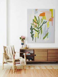 natural wood, bright colors against a neutral base