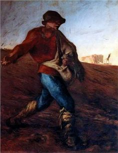 """The Sower - Jean-Francois Millet.  c.1850.  Oil on canvas.  40"""" X 32 1/2"""".  Museum of Fine Arts, Boston, MA, USA."""