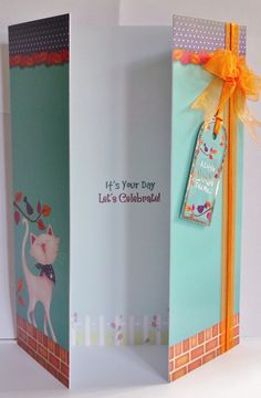 £3.00 A5 Gate Fold Card, with ribbon detail and hand made envelope. inside message is It's your birthday let's celebrate                                                                                                                                                                                 Mais