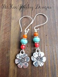 Earrings Handmade Stone, glass and sterling silver flower earrings. Pink, turquoise and orange. by margarett Flower Earrings, Beaded Earrings, Earrings Handmade, Handmade Jewellery, Silver Earrings, Hoop Earrings, Diamond Earrings, Punk Earrings, Handmade Wire