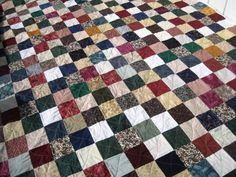 Queen or King Size Patchwork Quilt. Custom Made Traditional Twin Quilt Size, Queen Size Quilt, Quilts For Men Patterns, Quilt Patterns, The Quilt Show, Rail Fence Quilt, Flannel Quilts, Man Quilt, Traditional Quilts