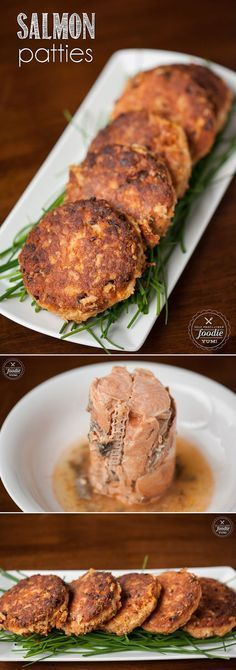These Salmon Patties made from wild caught canned red salmon are an absolute din. These Salmon Patties made from wild caught canned red salmon are an absolute dinner time favorite in our house and are the best I've ever tasted. Salmon Dishes, Seafood Dishes, Seafood Recipes, Seafood Platter, Canned Salmon Recipes, Tuna Recipes, Canned Salmon Cakes, Recipies, Salmon Patties Recipe