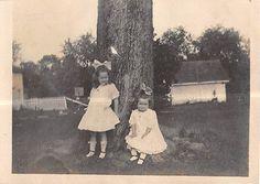 Photograph Snapshot Vintage Black and White: 2 Girls Dress Bow Yard Sweet 1930's