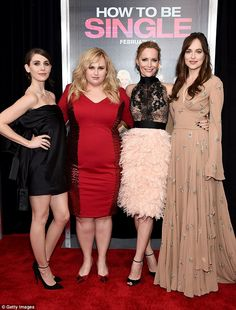 Leading ladies: Dakota stars in the romantic comedy set in the big Apple with Mad Men's Alison Brie, Pitch Perfect's Rebel Wilson and Knocked Up's Leslie Mann