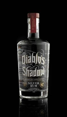 Dave Stevenson's gorgeous hand lettering also graces the Diablo's Shadow Silver Rum bottle Alcohol Bottles, Liquor Bottles, Beverage Packaging, Bottle Packaging, Whisky, Tequila, Rum Bottle, Wine And Liquor, Liqueur