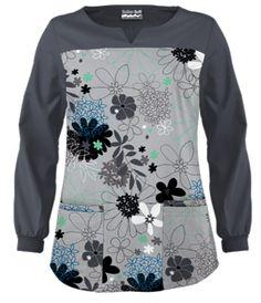 UA Floral Comfort Silver Print Scrub Top Style # UA724FCS #uniformadvantage…