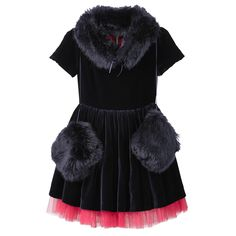 7bb3801a86b48 Couture velvet dress with false fur and fuchsia tulle Junior Gaultier for  girls