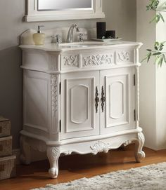 Adelina 33 inch Antique White Single Bathroom Vanity