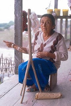 Spinning Cotton for Thread  Juana demonstrates the ancient non-Inca spinning technique found on the Pacific coast of Ecuador