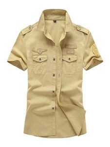 Men Cargo Shirt Plus Size Cotton Top Logo Print Pocket Short