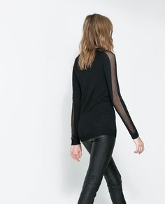 ZARA - WOMAN - SWEATER WITH TRANSPARENT SECTIONS ON THE SLEEVES