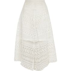 River Island White lace hanky hem midi skirt ($90) ❤ liked on Polyvore featuring skirts, midi skirts, white, women, high-waisted skirts, white asymmetrical skirt, asymmetrical skirt, knee length lace skirt and white lace skirt