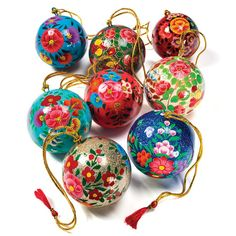 Hand Painted Papier Mache Baubles - Set of 4 - Natural Collection Select Christmas Gift Decorations, Christmas Baubles, Handmade Christmas, Christmas Crafts, Paper Mache Boxes, Mexican Christmas, Design Crafts, Diy Crafts, Christmas Inspiration
