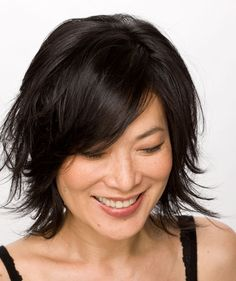"""layered bob with multiple layers that """"round in"""" to create shape and movement- for fine hair, especially with some natural texture"""