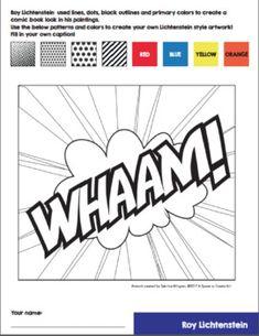 Roy Lichtenstein Art History Worksheets and Art Activities Pop Art Facts, Roy Lichtenstein Pop Art, Pop Art Images, 7th Grade Art, Pop Art Drawing, Art Worksheets, Art Curriculum, Middle School Art, Arte Pop