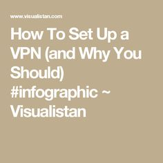 How To Set Up a VPN (and Why You Should) #infographic ~ Visualistan