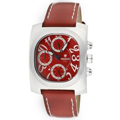 @Overstock - This Lancaster Italy women's red genuine leather watch features a red dial. With chronograph features, this watch includes Chinese chronograph quartz movement and secures with a tang buckle clasp.http://www.overstock.com/Jewelry-Watches/Lancaster-Italy-Womens-Red-Genuine-Leather-Watch/7482452/product.html?CID=214117 $119.99