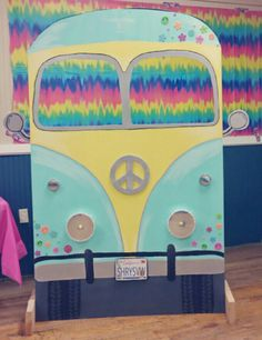 Volkswagen Bus/Van I made for a hippie 60s party. So much fun for a photo booth and easy to do. VW hippie 60s tye dye