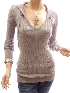 Amazon.com: Patty Women Comfy Hooded Cable Knit Long Sleeve Jumper Tunic Top: Clothing ($44.99)
