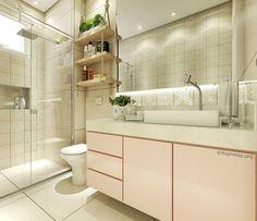 """284 curtidas, 30 comentários - TM Arquitetura & Interiores (@thamirez.arq) no Instagram: """"Banheiro clean para a suíte da filha! Utilizamos o rosa na marcenaria e apostamos nas prateleiras…"""""""