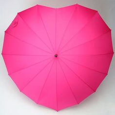 LINDY BOP 'Heart' Hot Pink Heart Shaped Umbrella Automatic Button Release