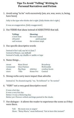 """Tips to Avoid """"Telling"""" Writing in Personal Narratives and Fiction"""
