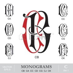 Vintage Monograms CB CA CC CD CG CJ CK Monogram Towels, Free Monogram, Vintage Monogram, Monogram Fonts, I Got A Rock, Alpha Art, Typography, Lettering, Beautiful Drawings
