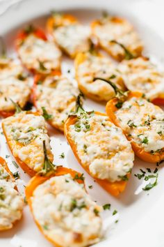 Zesty Cream Cheese Stuffed Mini Peppers - Mini sweet peppers stuffed with a zesty cream cheese mixture, then baked until hot and melty! Cream Cheese Stuffed Peppers, Stuffed Mini Peppers, Tuna Recipes, Appetizer Recipes, Cooking Recipes, Vegetarian Appetizers, Warm Appetizers, Vegetarian Recipes, Party