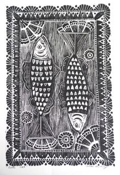 Herring fish Original Lino Print - myartcreations.etsy.com