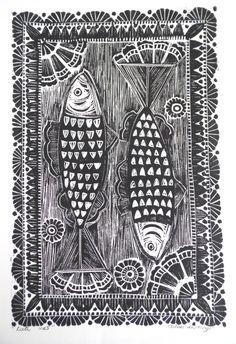 Herring fish Original Lino Print - myartcreations.etsy.com