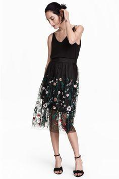 Falda bordada de malla - Negro floral - MUJER | H&M ES 1