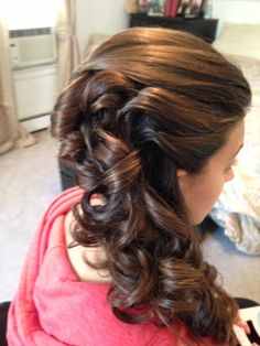 Thick hair updo side pony tail dark hair by Joanne at Bangz salon 516-781- 1111  Bellmore ny