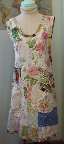 Gorgeous scrappy homemade apron with vintage tea towels and feedsack cloth. We LOVE this Tea with Botanical Betty smock by calamity kim, via Flickr