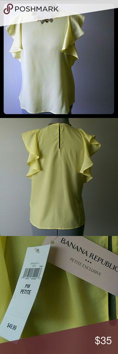 Banana»flutter sleeve NWT Adorable! Yellow top  with flutter sleeves from Banana Republic. Semi-sheer, 100% poly, machine washable. Brand new with tags. A little too small for me, but TTS. Size Petite Medium. Banana Republic Tops Blouses